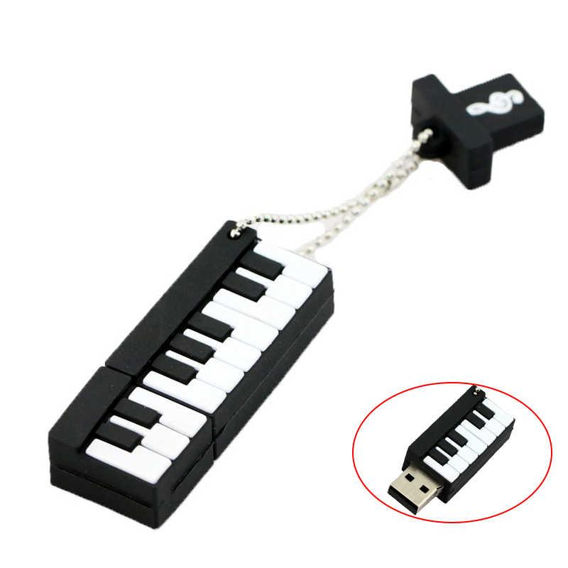 פסנתר Usb דיסק און קי 2.0 עט כונן שרוך סיליקון חמוד מיני פלאש דיסק 128 16 32 8 256 gb 128GB pendrive U דיסק זיכרון מקל