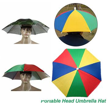 Portable Rain Umbrella Hat Army Green Foldable Outdoor Pesca Sun Shade Waterproof Camping Fishing Headwear Cap Beach Head Hats 2