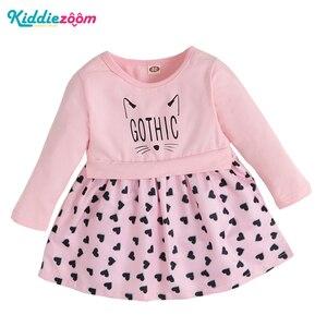 Новинка 2021, детское платье с длинным рукавом, хлопковая одежда для новорожденных, платья для малышей, одежда для маленьких девочек