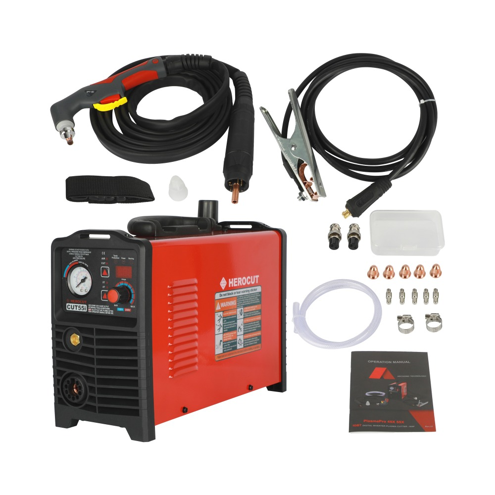CNC IGBT Non-HF Pilot Arc CUT55i Digital Control Plasma Cutter Dual Voltage 120V/240V, Cutting Machine Work With CNC Table