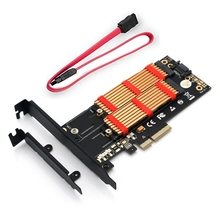 M.2 Nvme SSD NGFF TO PCI-E X4 3.0 PCB Adapter M Key B Key Dual Interface Riser Card With Heat Sink