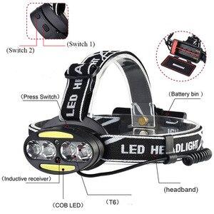 Image 2 - ZK20 高ルーメンledヘッドランプヘッドライト 4T6 2COBヘッドランプ懐中電灯誘導モーションセンサーヘッドライトキャンプ釣り屋外