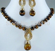 free shipping >>>>>African Roar Tiger's Eye Necklace Earring(China)