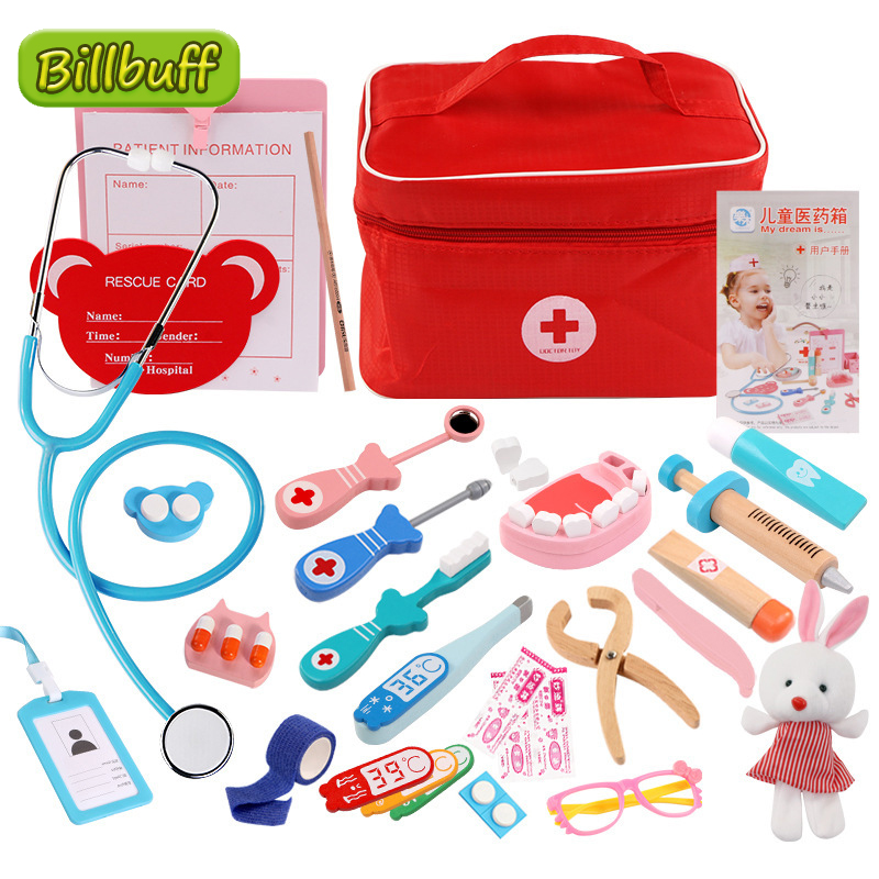Hot Doctor Toys for Children Sets Kids Wooden Pretend Play Kit Games for Girls Boys Red Medical Dentist Medicine Box Cloth Bags