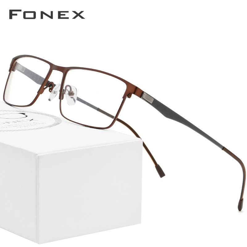 FONEX Alloy Glasses Frame Men Ultralight Square Myopia Prescription Eyeglasses Frames Metal Full Optical Screwless Eyewear image