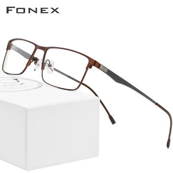 FONEX okulary z lekkiego stopu ramki mężczyźni Ultralight plac krótkowzroczność okulary korekcyjne ramki metalowe pełne optyczne bezśrubowe okulary tanie i dobre opinie Stałe 9837 d Squared High Quality Ultra Light Full-Rim Korean USA Eye Glasse FRAMES Okulary akcesoria
