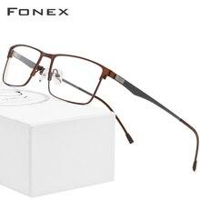Fonex armação masculina, armação de liga de metal, masculina, para óculos de grau para miopia, quadrados, ultraleve, sem parafusos