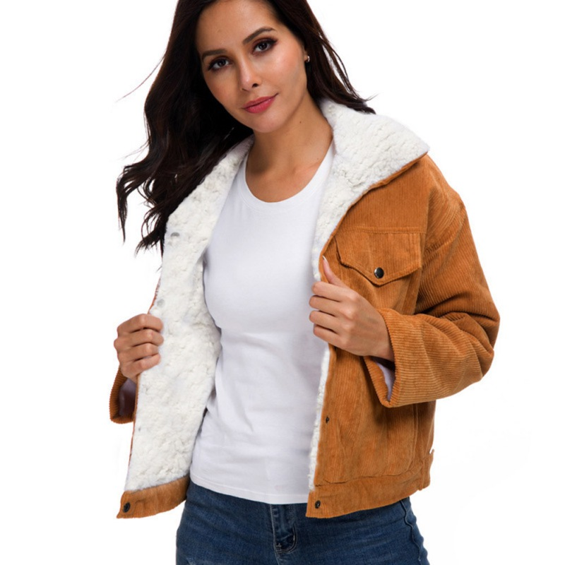 Elegant Coat Women Winter Warm Corduroy   Basic     Jacket   Female Solid ColorJacket Long Sleeve Casual Single Breasted Coat