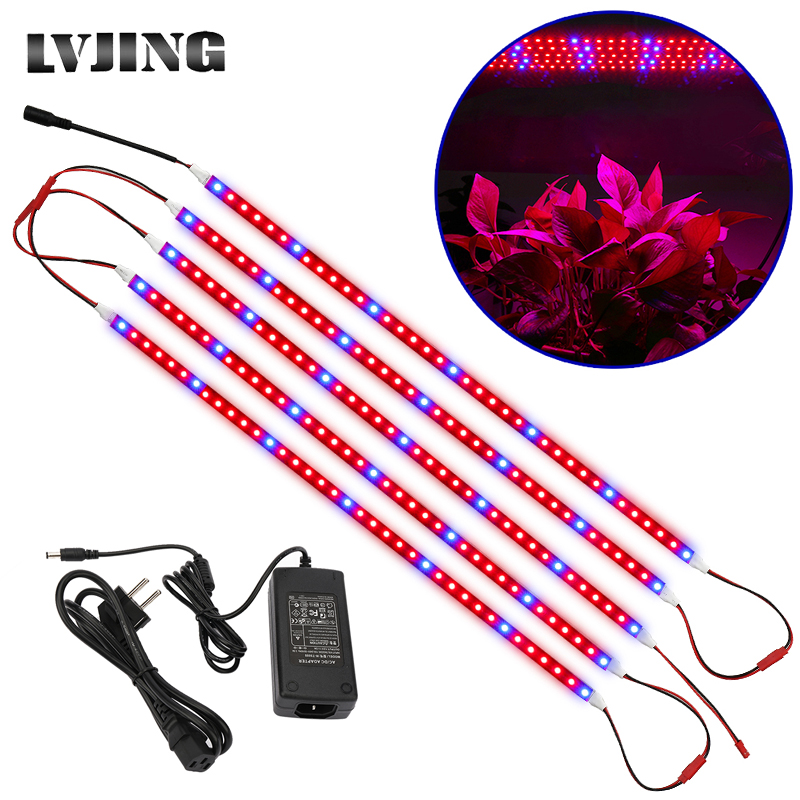 LED Plant Grow Lights 5pcs 0.5M DC12V 5A Power Adapter Flexible LED Grow Strip Light For Greenhouse Hydroponics Plant Vegetable