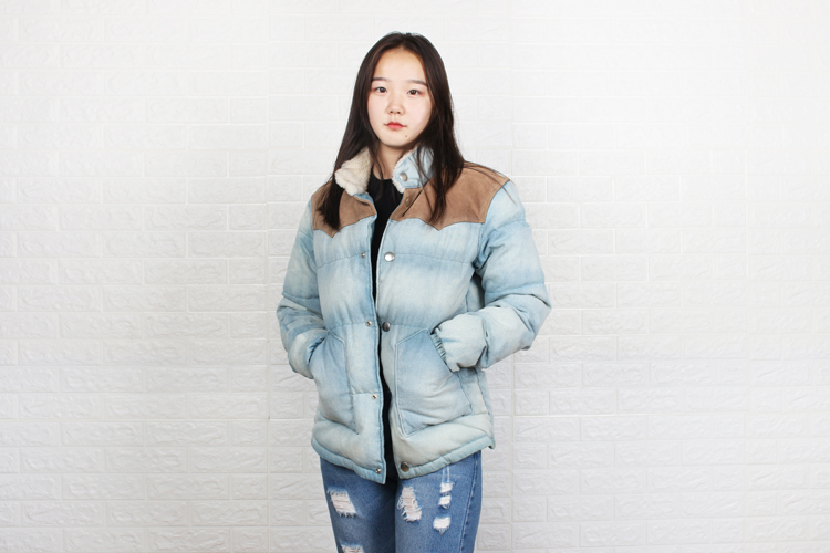 Free Shipping,woman Blue 90% White Down Jacket,Washed Denim Cowhide Splicing.wool Collar,slim Jean Coat.winter Warm.sales