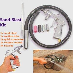 Image 5 - התזת חול אקדח 7Pcs שוחק אוויר חול פיצוץ אקדח ערכת התזת חול מכונה זרבובית צינור חלודה להסיר עבור Sandblast Cabinets2019