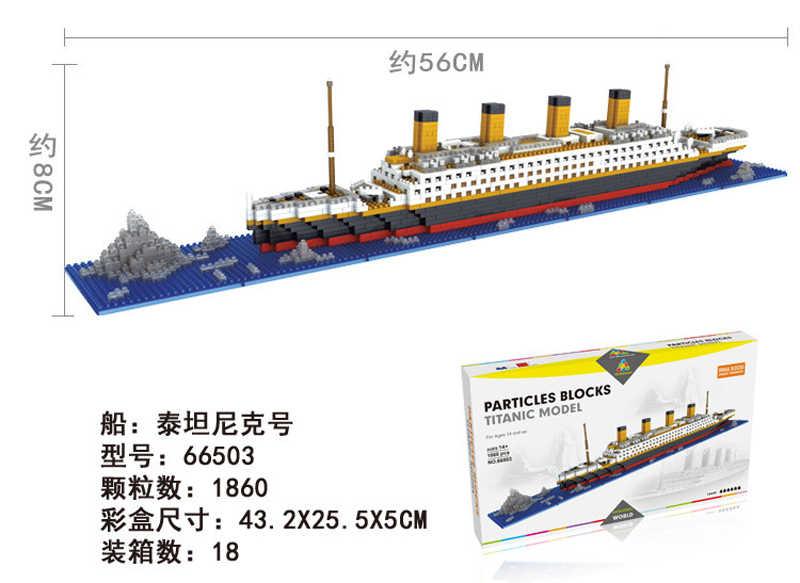 Città Titanic RMS La Nave Da Crociera Barca Building Block incompatibile Legoed Serie Pirata Aircrafted Carrier Diamante Mini Giocattolo del Mattone