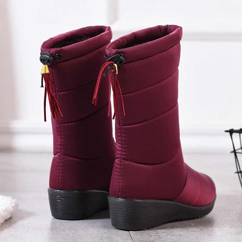 รองเท้าผู้หญิง 2019 กลางลูกวัวฤดูหนาวรองเท้า WEDGE รองเท้าส้นสูงรองเท้าบูทฤดูหนาวรองเท้าผู้หญิง PLUS ขนาด 44 ขนสัตว์แพลตฟอร์ม Botas Mujer
