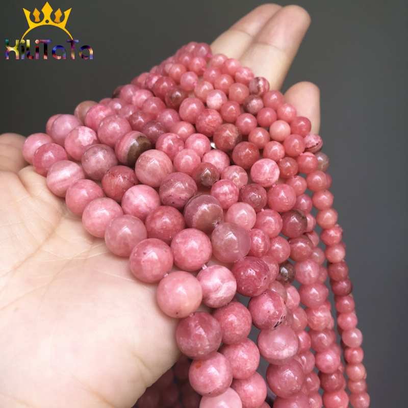 """Natural Stone Rhodochrosite Beads Round Loose Spacer Beads For Jewelry Making 6/8/10mm DIY Bracelets Accessories 15""""Strand/Inche"""