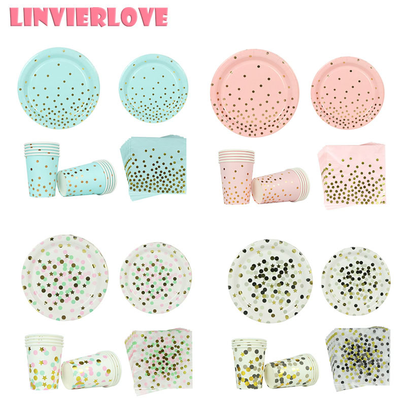 LINVIERLOVE 40pcs Blue Pink Dot Paper Cup+Plate+Napkins For Happy Birthday Wedding Disposable Tableware Party Decor Supplies