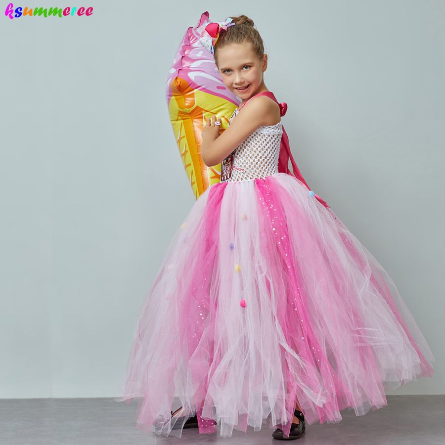 Ice Cream Sweet Candy Girls Tutu Dress with Hair Bows Kids Birthday Tutu Costume Pageant Princess Gown Dress Lollipop Dress 2
