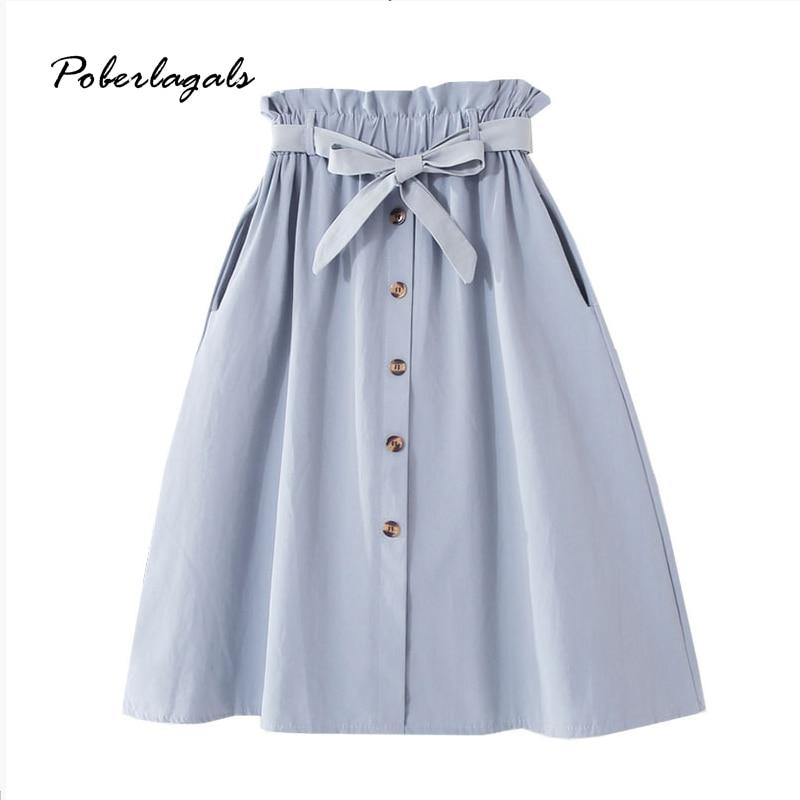 Summer Autumn Women College Style Button Skirt High Waist Elegant Bow Tie Skirt 2020  Female Retro Sweet Women Midi Frill Skirts
