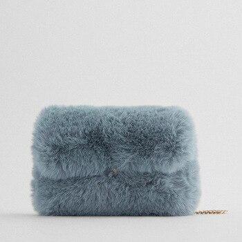 2020 New Female Bag Rabbit Fur Chain Small Square Bag Fashion Faux Fur Shoulder Messenger Bag Luxury Brand Female Bag Handbag