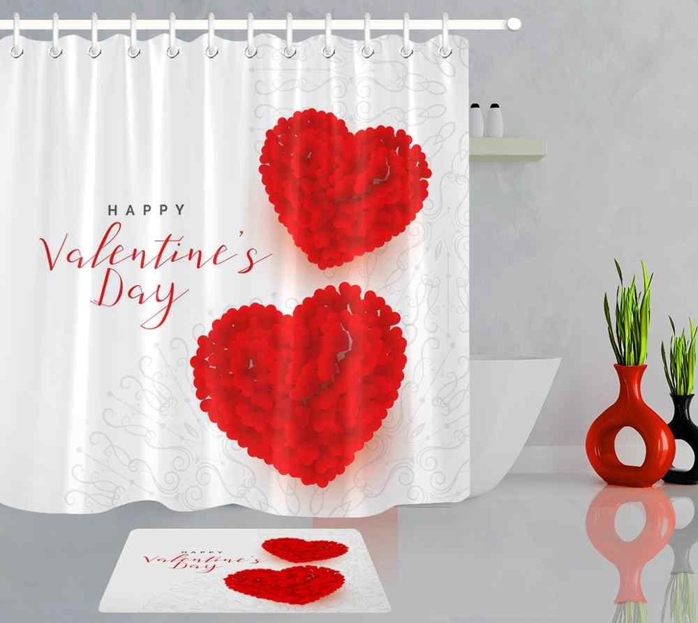 valentine s day shower curtain red love heart bathroom decor waterproof polyester fabric with 12 hooks