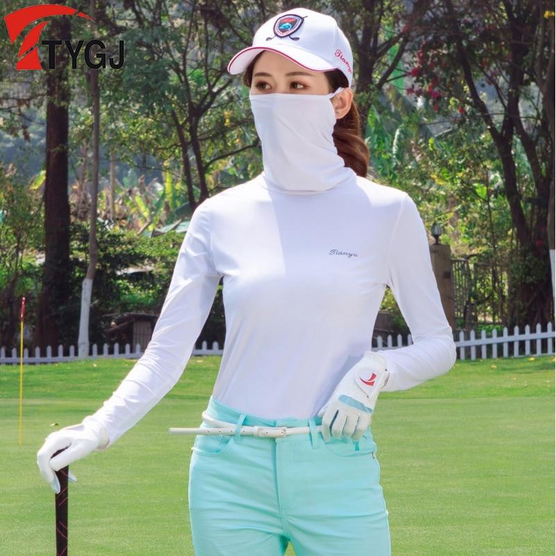 Korea Golf Apparel Sun Protection T Shirt Women'S Sports Playing Ice Silk Mask Bottoming Shirt High Collar Quick-Drying Tops