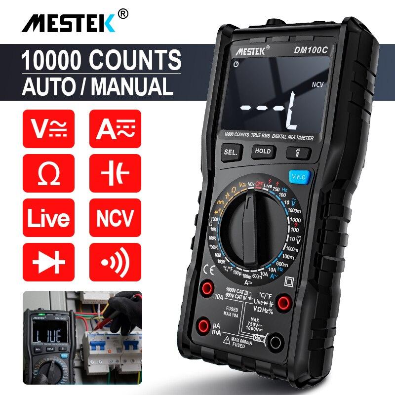 Цифровой мультиметр MESTEK DM100C, True-RMS, кнопка, 10000 отсчетов с аналоговой гистограммой, амперметр напряжения постоянного и переменного тока, Ток ...