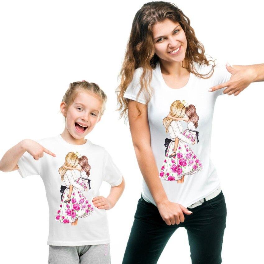 Новая семейная футболка с принтом Одежда «Мама и я» Семейные комплекты с короткими рукавами QT-1924 - Цвет: Хаки