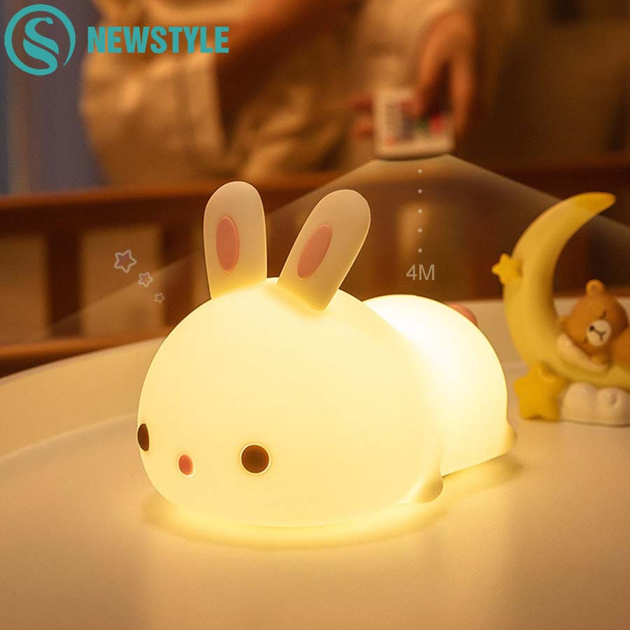 Colorful Silicone Rabbit Night Light Cute Animal Soft Cartoon USB Rechargeable Lamps For Children Bedroom Baby Christmas Gift