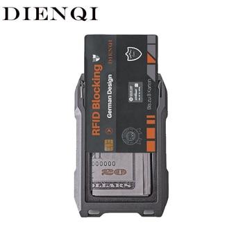 DIENQI RFID Metal Cardholder Wallet Men Business Badge Credit Card Holder Small Aviator Minimalist Wallet for Card Man Tarjetero 1