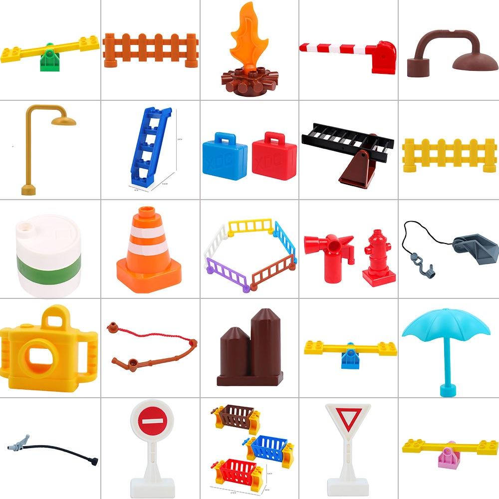 Hot Legoingly Duplo de Slides Escada e Rua Luz Tijolos Partículas Grandes Blocos de Construção Compatível Acessório Playmobil Brinquedos Dos Miúdos