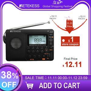 Image 1 - RETEKESS V115 Radio AM FM SW Radio de bolsillo onda corta FM altavoz soporte TF tarjeta USB grabador tiempo de sueño