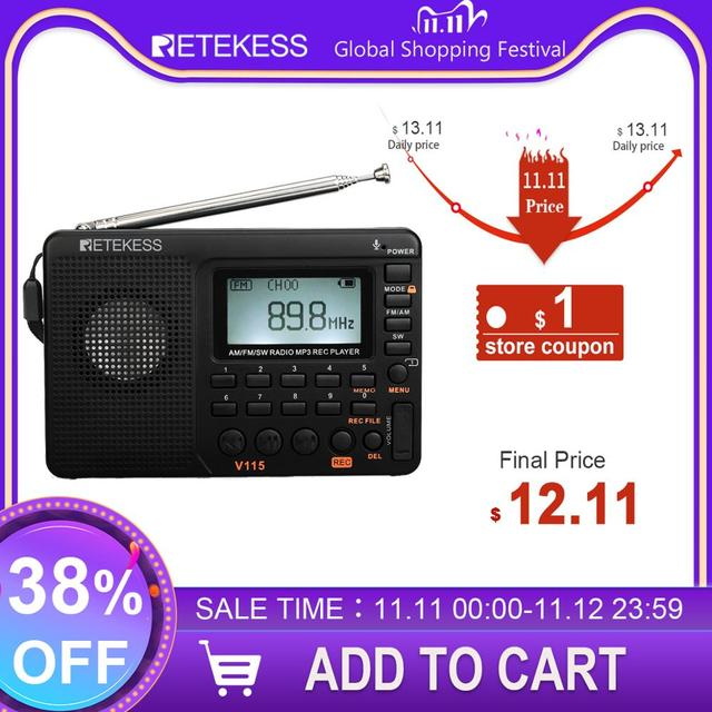 RETEKESS V115 Radio AM FM SW Radio de bolsillo onda corta FM altavoz soporte TF tarjeta USB grabador tiempo de sueño
