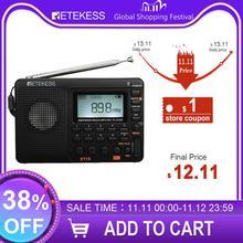 Retekess v115 rádio am fm sw bolso rádio de ondas curtas fm alto falante apoio tf cartão usb rec gravador sono tempo