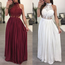 ZOGAA 2019 Women Ladies Maxi Summer Long Evening Party Dress Beach Sundress White Wine Red Clothes women sexy lace dress