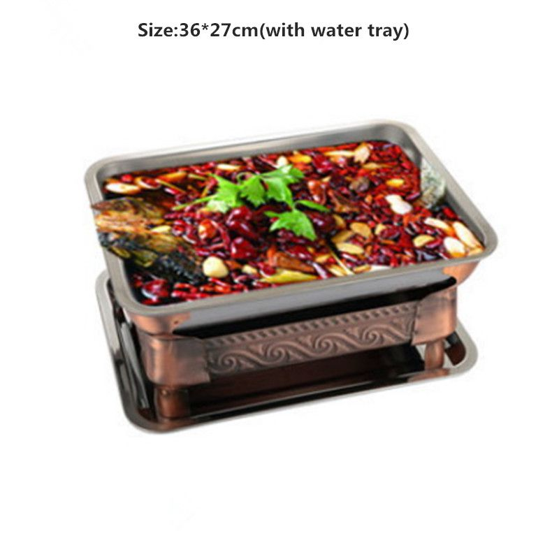 Commercial grilled fish stove stainless steel rectangular grilled fish dish alcohol charcoal grill seafood latte|BBQ Grills| |  - title=