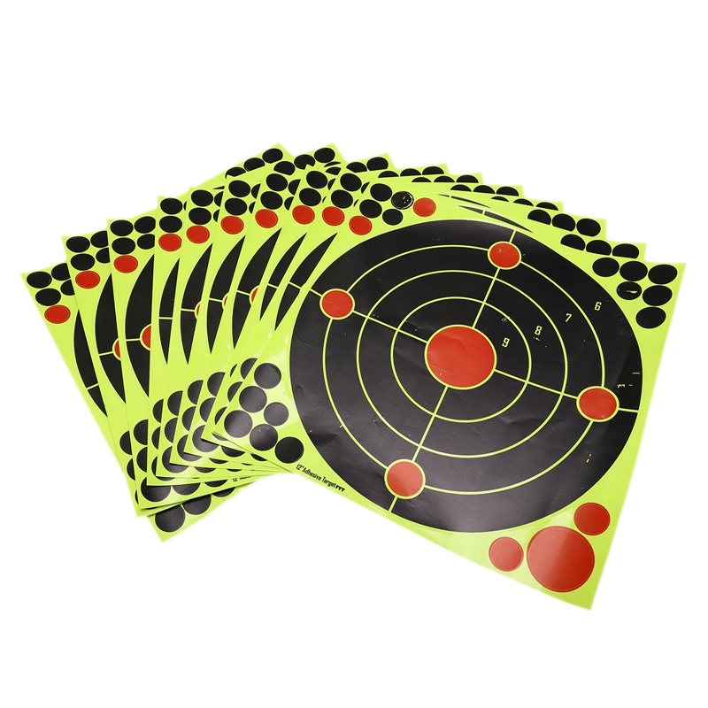 Splatter Target Stickers For Firing-12 Inch High Visibility Reactive Fluorescent Yellow Impact 10Pcs/Lot Targets