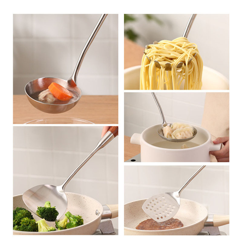 7 pieces/suite 304 stainless steel cooking tools/spoon slotting shovel Turner spatula filter pasta servers/kitchen utensils - 3