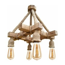 Rustic Wood Chandelier Cafe Bar Restaurant Living Room 5-Piece Special Design Stylish Indoor Lighting Lamp