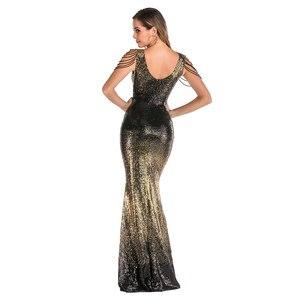 Image 3 - YIDINGZS Con Scollo A V Paillettes Oro Vestito Da Promenade Delle Donne Perline Elegante Lungo Del Partito di Sera del Vestito YD16180