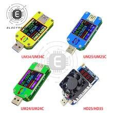 UM24/UM24C UM25/UM25C UM34/UM34C tipo-c voltímetro USB medidor de resistencia medidor de carga probador de corriente de voltaje LCD pantalla a Color