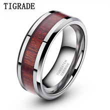 8mm Wood Inlay Tungsten Carbide Ring High Polished Edge Mens Rings Wedding Engagement Band anelli uomo anel masculino preto