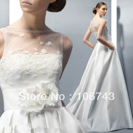 Free Shipping 2016 New Style Hot Sale Sexy  Bride Wedding Sweet Princess Custom Size Flowers Pockets Bridal Dress