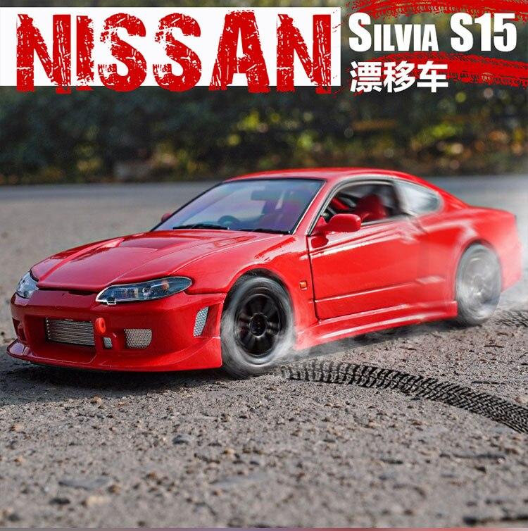 welly 1 24 escala nissan silvia s 15 s15 corrida super esporte carro diecast display liga