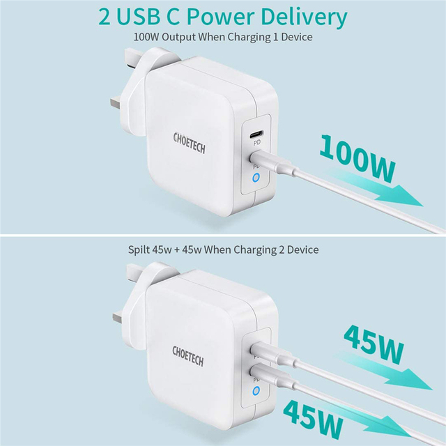 100W GaN Dual USB Type C Charger for iPad Pro Wall Charger for iPhone 11 Pro Phone for Samsung/Huawei/ASUS/Lenovo/DELL Tablet