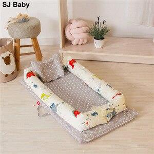 Детская кровать-гнездо, переносная кроватка для путешествий, детская кроватка для переноски, хлопковая Колыбель для малышей, детская крова...