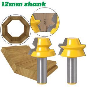 """Image 4 - 2 adet kilit gönye yönlendirici 22.5 derece tutkal doğrama yönlendirici Bit 1/2 """"12mm Shank 8mm shank ağaç İşleme kesici Tenon ahşap için kesici"""