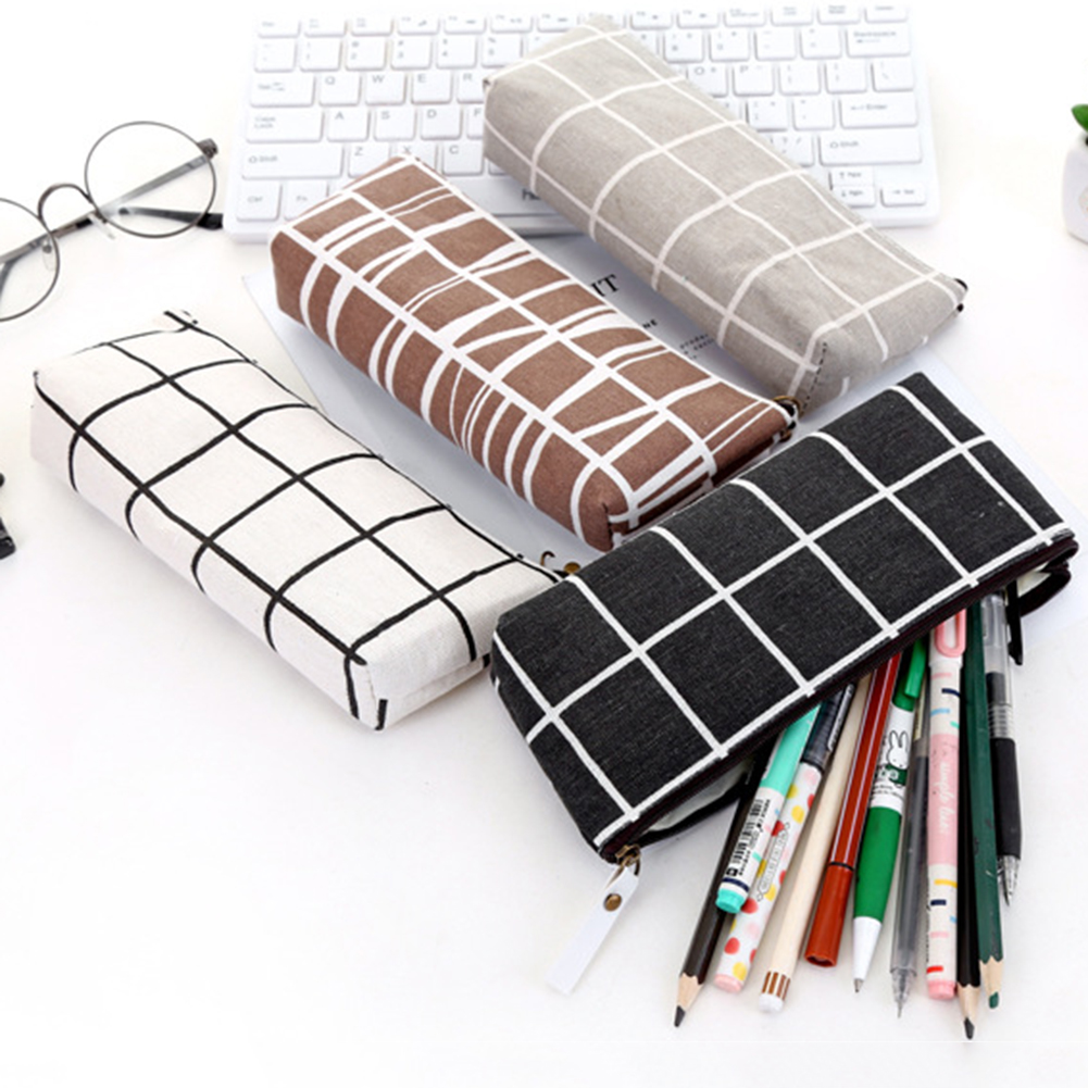 Canvas Pencil Case School Pencil Bag Simple Striped Grid Pencil Case Office Supplies Pen Bag Students Stationery Toiletry Bag