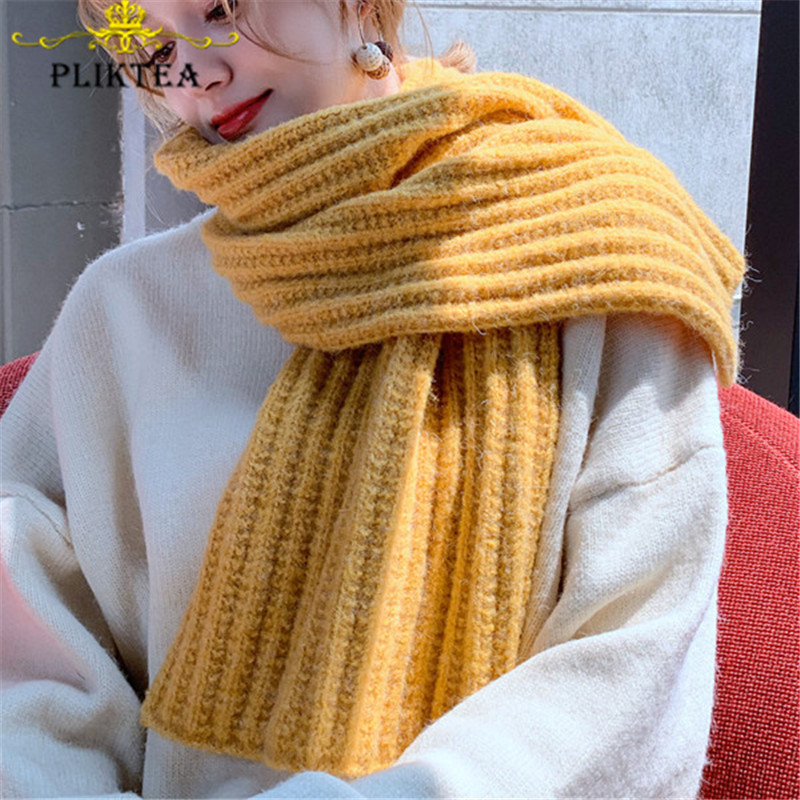 Best For You  Yellow Thick Warm Knitted Scarf Solid Color Women's Winter Scarves Female Green Gray Black Pink Bei