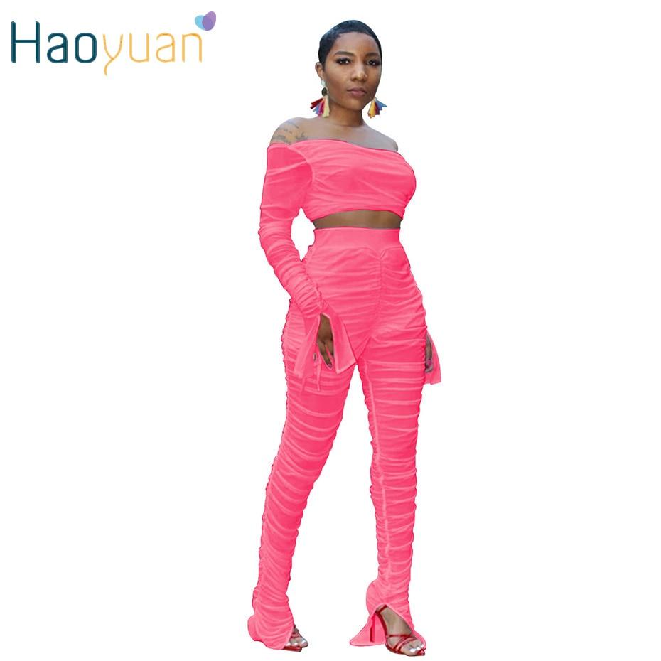 HAOYUAN Sexy Mesh Sheer Neon Two Piece Set Off Shoulder Bandage Crop Top + Pants Fall 2019 Streetwear Women 2 Piece Club Outfits