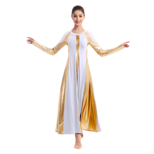 Elegant Worship Praise Dance Dress Women Adult Metallic Splice High Waist Pleated Long Church Costume