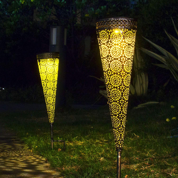 Solar Pathway Projection Lights Waterproof Metal Decorative Stakes Garden Solar Lights Walkway Yard Lawn Patio Conical Lights 1